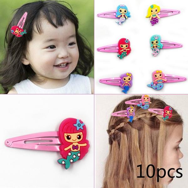 10Pcs Random Color Cute Kids Girl Hairpins Cartoon BB Hair Clips Child  Barrettes Hair Band Accessories