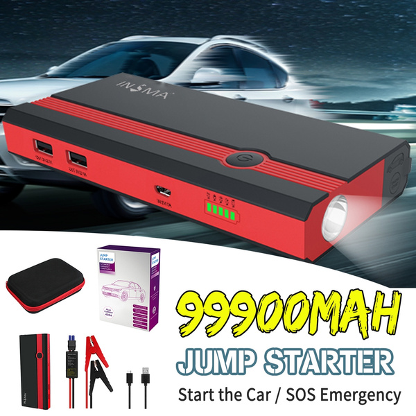 99900mAh 12V LED Car Jump Starter Pack Booster 2 USB Charger Battery Power Bank