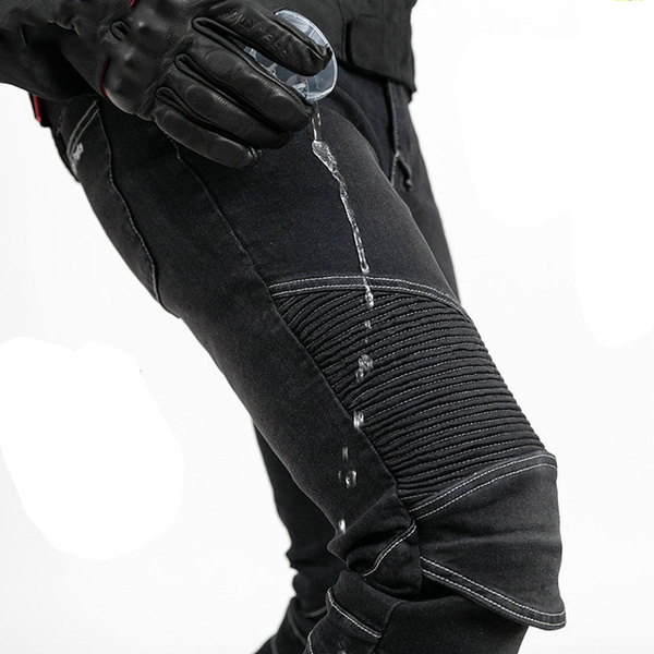 2019 Waterproof Men Motorcycle Riding Pants Motocross Racing Jeans With 4 X Knee Hip Pads XL, Black