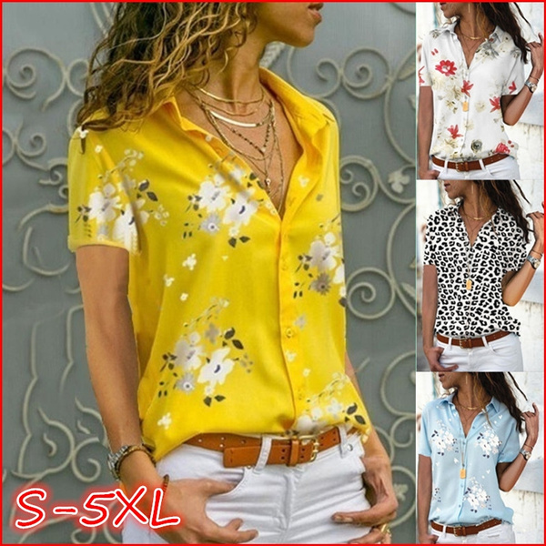 Women Plus Size Clothing Women Ladies Short Sleeve Casual Shirt Tops Blouse S-5XL