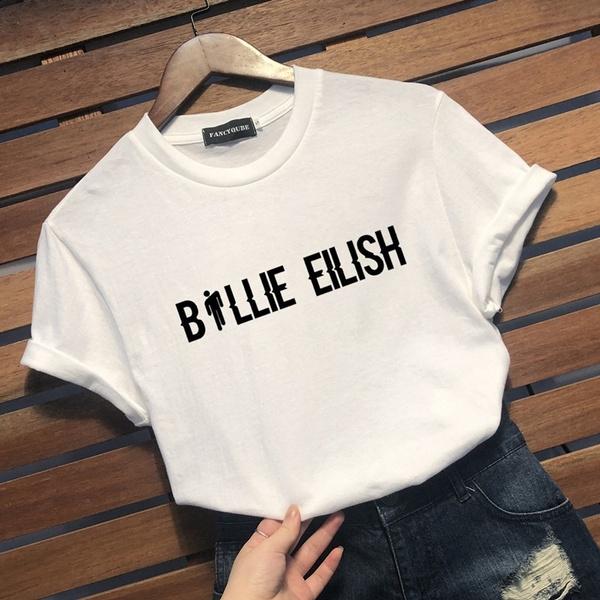 2019 New Summer Fashion Kpop Billie Eilish T Shirt Women Girls Letter Printed T Shirts New Design Graphic Tee Short Sleeves Shirts Tops Wish