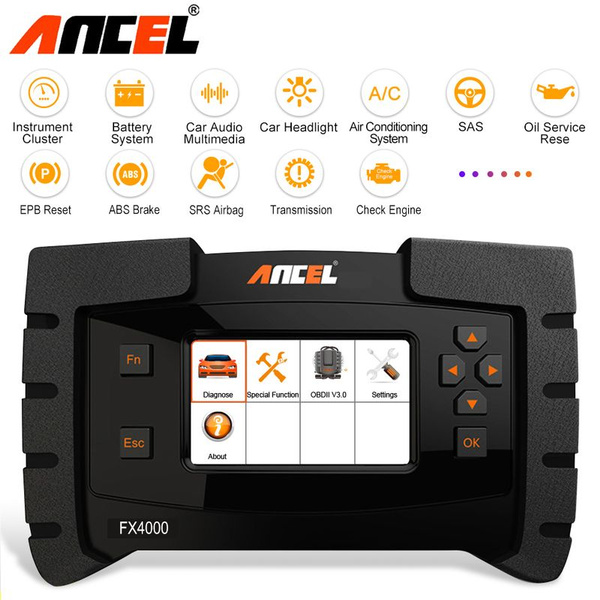 Ancel FX4000 OBD2 Car Diagnostic Tool Support Engine ABS Airbag  Transmission OBD Full Systems ODB2 Automotive Scanner for American Vehicles  Car