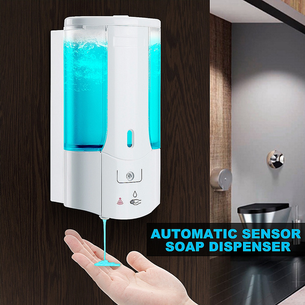 450mL Wall Mounted Automatic Infrared Sensor Hand-Free Soap Dispenser With  Cover Bathroom for Home Office Mall School Hotel