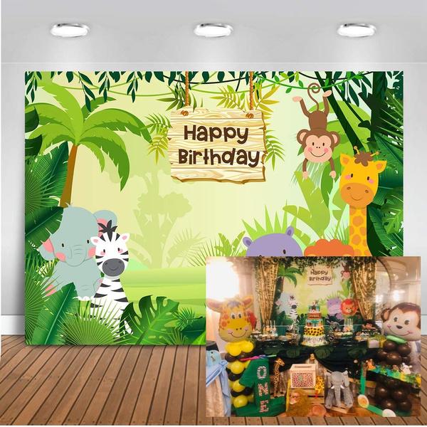 Mehofoto Safari Baby Shower Backdrop Party Animals Jungle Photography Background 7x5ft Vinyl Safari Animals Baby Shower Party Backdrops