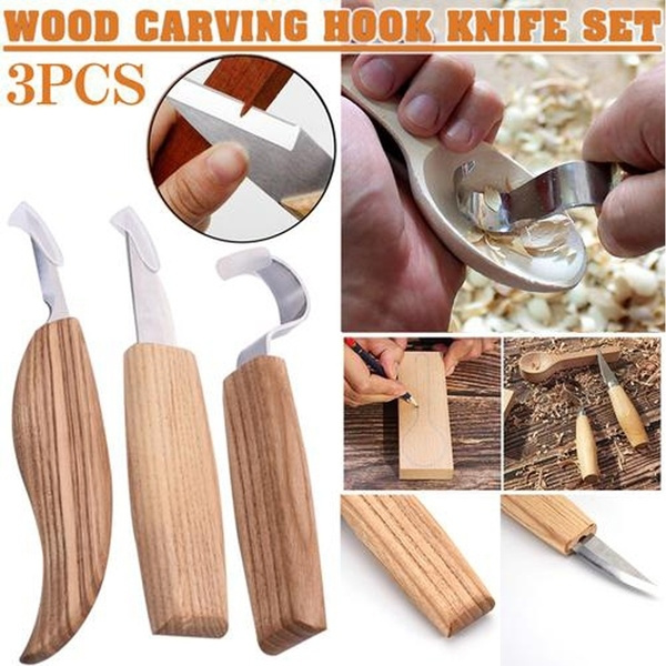 3Pcs Spoon Carving Knives Woodcarving Tool Hook Knife Whittling BeaverCraft