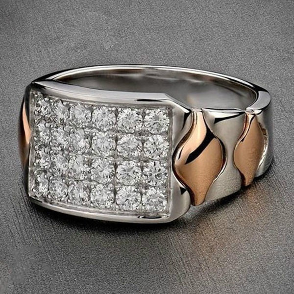 Fashion Men S 925 Sterling Silver 18k Rose Gold Diomand Jewelry