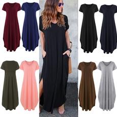 Summer, short sleeve dress, long dress, plus size dress