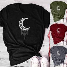 Summer, crescentmoonprinted, Shirt, Sleeve