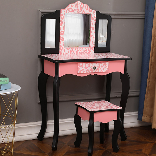 Awe Inspiring Fashion Prints Girls Vanity Table And Stool Set With Mirror Leopard Pink Black Cjindustries Chair Design For Home Cjindustriesco