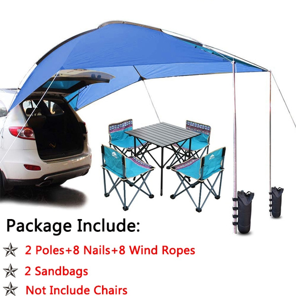 Outdoor Folding Car Waterproof Trailer Tent Camping Shelter Anti-UV Fishing  Car Awning Tent Picnic Sun Shelter Beach 5-8 Persons