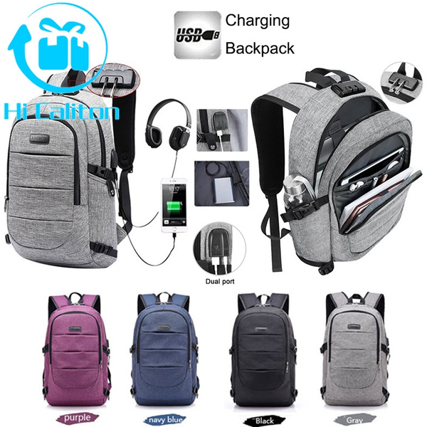 "16/"" Laptop Notebook Backpack Anti Theft Mens USB Charging Port Travel Bag+Lock"