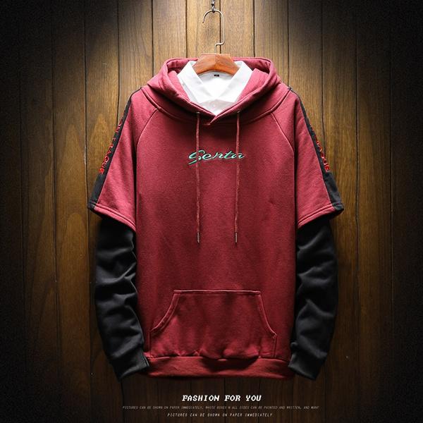 Long Sleeve Male Fashion Hooded Sweatshirt Spandex-Reinforced Hoodies Kangaroo Pocket Cuffs