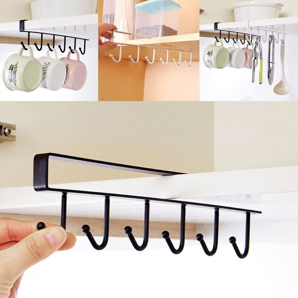 1 Pc Shelf Storage Clothes Hanging Wardrobe Kitchen Organizer Cup Holder Glass Mug Holder 6 Hooks Storage Rack by Wish
