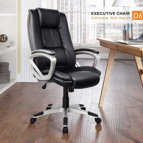 Peachy High Back Executive Black Office Chair Faux Leather Large Seat Reclining Computer Desk Chair With Arms Ergonomic Design Adjustable Seat Machost Co Dining Chair Design Ideas Machostcouk