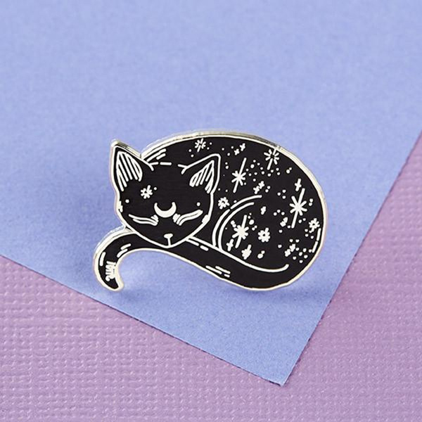 Halloween Witch Badge Pin Black Cat Brooch