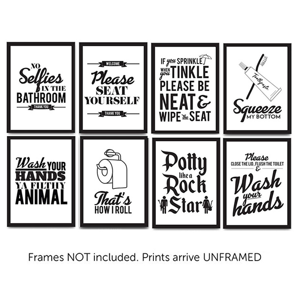Bathroom Words Black /& White Quote on Premium CANVAS WALL ART Picture Print