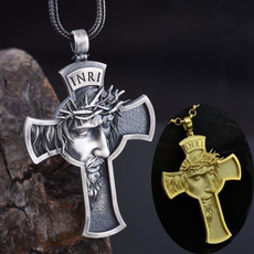 Steel, titanium steel, Christian, Cross necklace