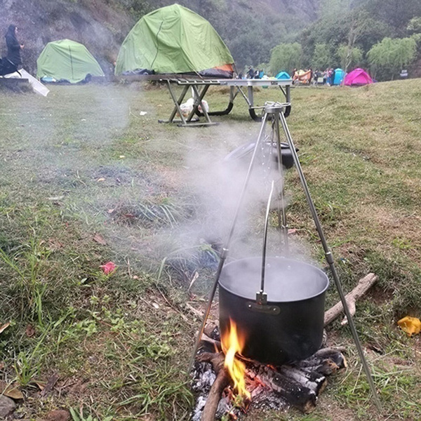 Outdoor Camping Picnic Cooking Tripod Grill Fire Iron Cast Campfire Portable