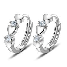 Sterling, Hoop Earring, Jewelry, heart shaped