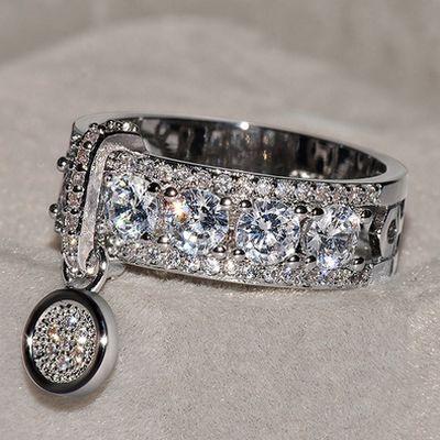Women Rhinestone Crystal Ring Wedding Engagement Rings Charm Jewelry Size 5-11