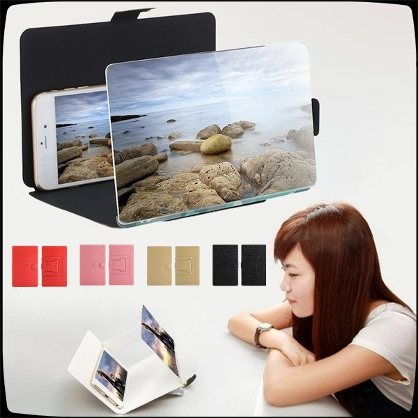 Color : White, Size : B Mobile Phone Screen Magnifier,12inch High Definition Smartphone Screen Amplifier Movie Video Amplifier with Expander Stand Holder