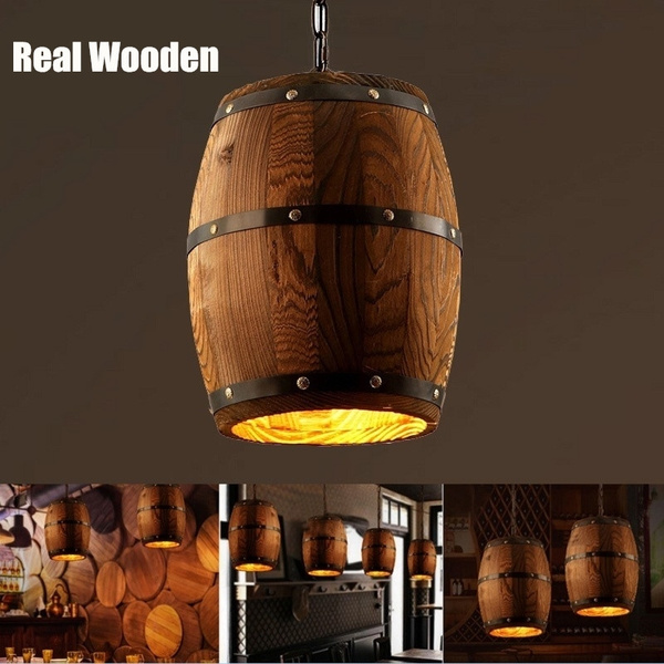 Retro American Style Real Wooden Wine Barrel Pendant Lamp Lighting Suitable For Home Decor Ceiling Lights Bar Cafe Restaurant