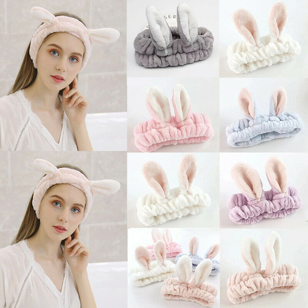 Fashion Korean Women Girls Cute Rabbit Ears Face Makeup Hairband Headband-//