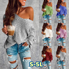 Plus Size, long sleeve sweater, one-shoulder, Long Sleeve