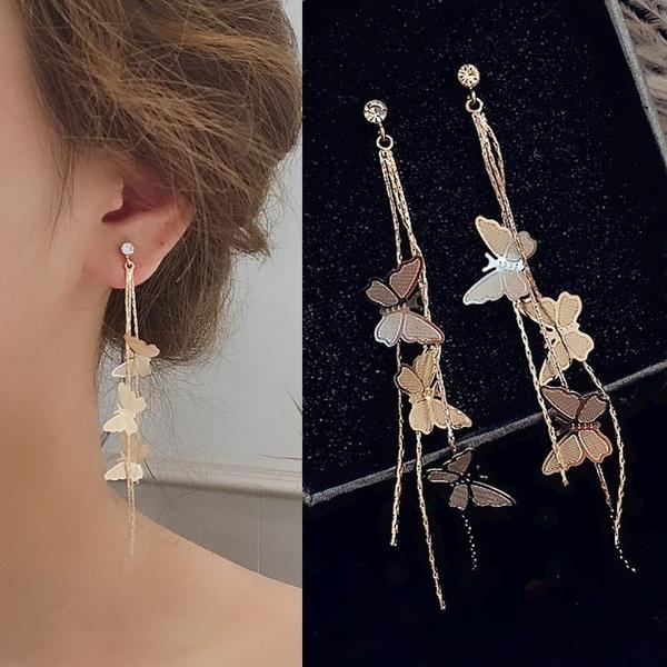 butterfly, Dangle Earring, Jewelry, wedding earrings