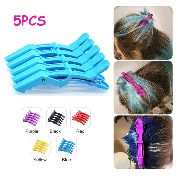 Pro 5Pcs Salon Croc Hair Styling Clips-Sectioning Alligator Hair Clip Plastic