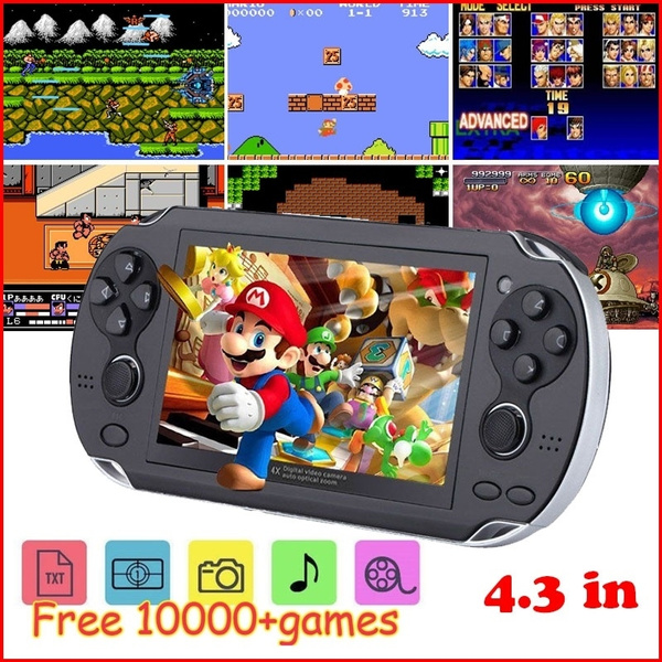 4.3 Inch Video Game Console  Free 10000 Games Mp4 Mp5 Players Handheld Game Player 2/4/8 Gb Classic Game Console by Wish