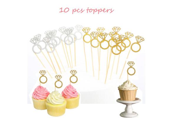 10pcs Cupcake Toppers Glitter Diamond for Cupcake Decor Bridal Shower Decor H uf