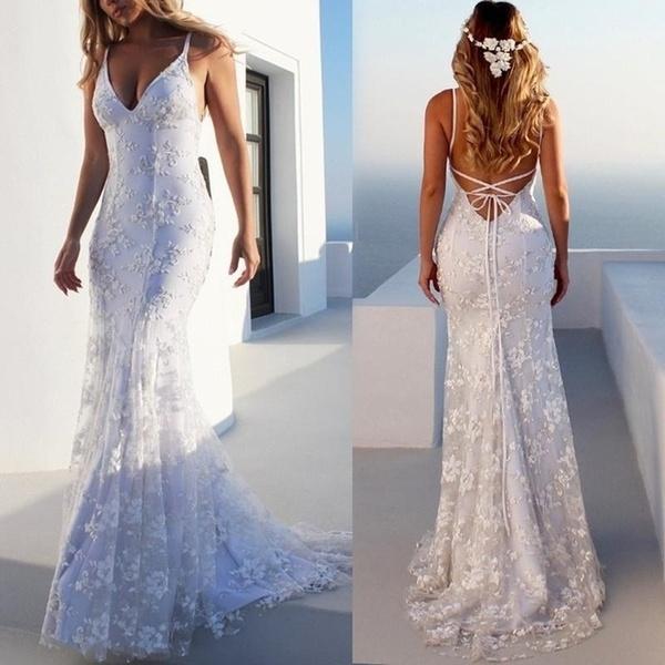 Summer Bridal Wedding Dress Deep V Neck Sleeveless Backless Bandage Sling Lace Dresses