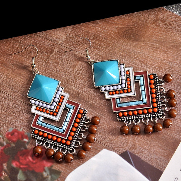 ricebeadearring, pendantearring, Jewelry, Colorful
