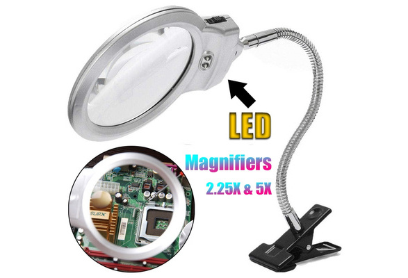4X /& 6X Magnifier LED Light with Clip and Flexible Neck 5D Diamond Painting and Cross Stitch Tool Accessory Magnifier Lamp LED Light with Magnifiers for Diamond Painting 5D Diamond Painting Tools