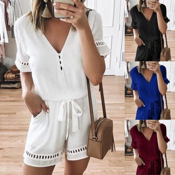 Summer, Women Rompers, looseblouse, summer shorts
