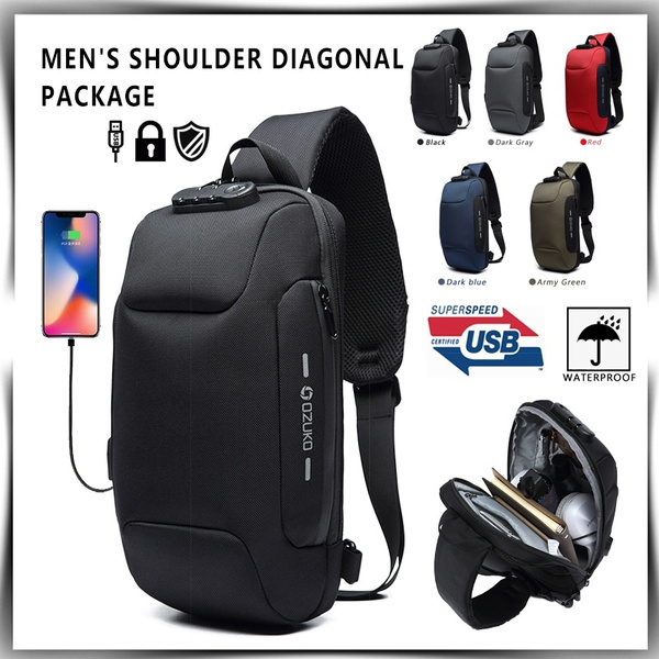 551d4be7c7b6 Multifunction Waterproof Reflective Men Chest Bags Anti Theft Password Lock  USB Charging Interface