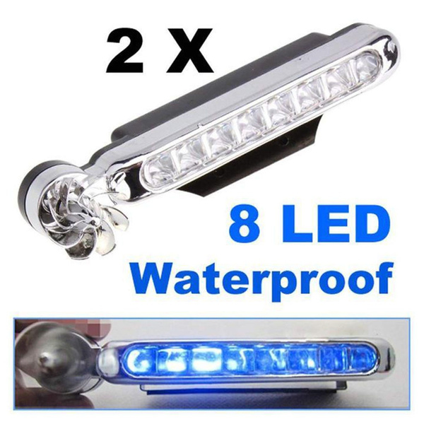 white 1 Pair Wind Driven Car Front Lights with Fan Rotation for Car Fog Warning 8x LEDs