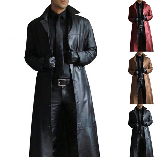 Mens Long Faux Leather Coats Sale Men Gothic Jacket Winter Casual Outwear Lapel Overcoat