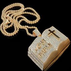 DIAMOND, punk necklace, Cross necklace, gold