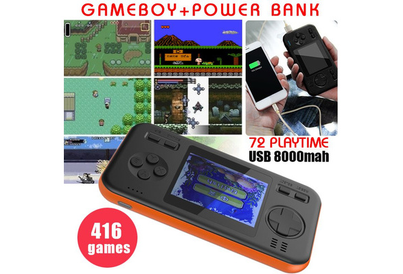 Gameboy+Power Bank!!!!72 Hours Playtime Built-In 416 Classic Games Machine  Portable 8000mAh Power Bank +2 8inch Game Console (4 Colors)