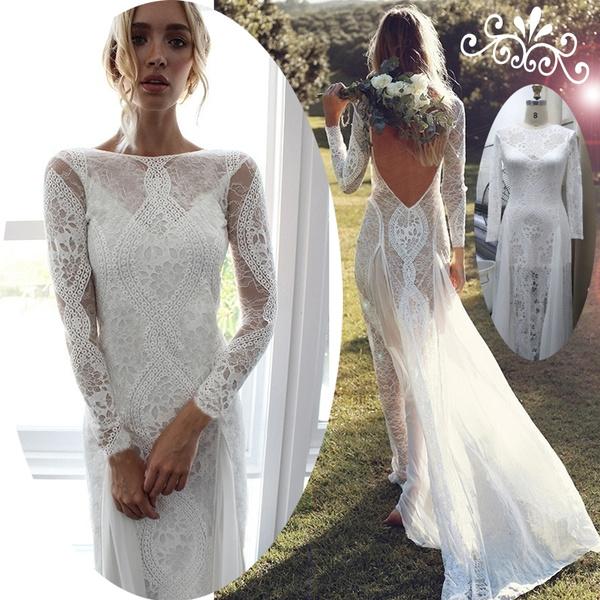 Abiti Da Cerimonia Wish.New Lace Backless Floor Length Wedding Dress Chiffon Evening Dress