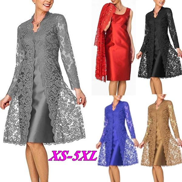 dresstwopiecesset, Plus Size, Lace, Sleeve