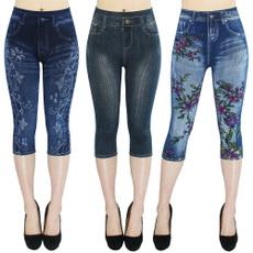 Leggings, short leggings, Floral print, high waist