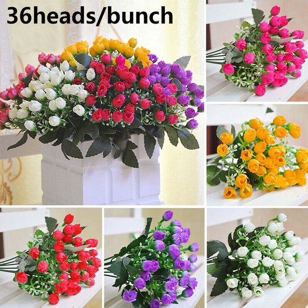 Blooming Small Bud Rose Artificial Flowers Wedding Decoration Bridal Bouquet