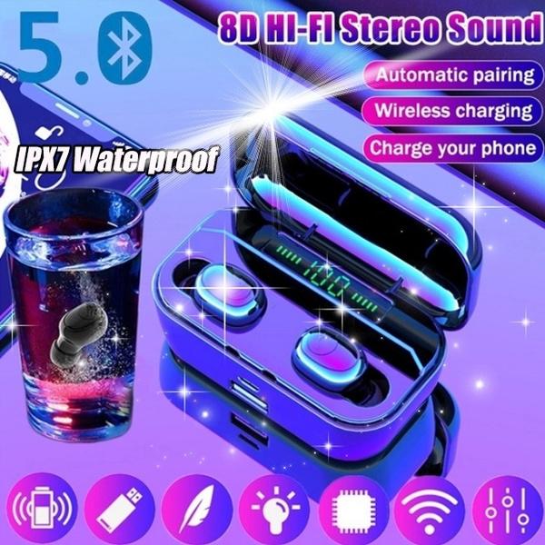 Bluetooth5 0 8d Hifi Tws Bluetooth Earphones Cvc8 0 Noise Cancelling Wireless Bluetooth Headphones Sport Waterproof Bluetooth Headset Mini Earbuds With Power Bank Chaging Case Wish