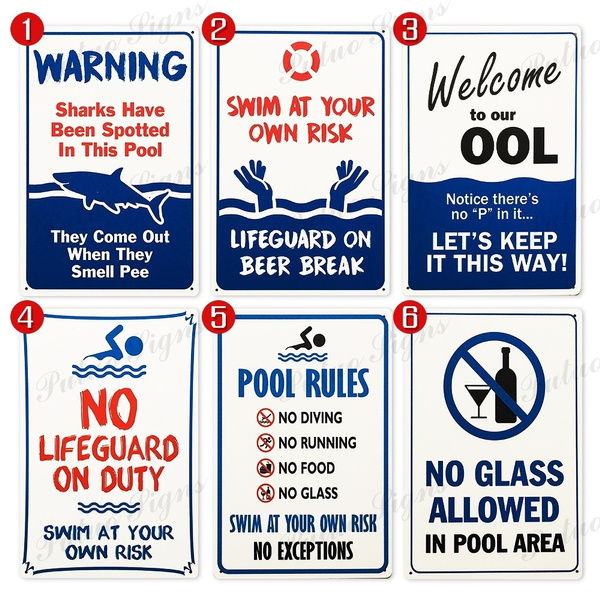 Swimming Pool Signs Pool Rules Signs Warning Metal Signs Safty Signs (  20cm×30cm )
