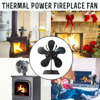 5 Blades Stove Fan Wood Soot Heated Powered Heated Stove