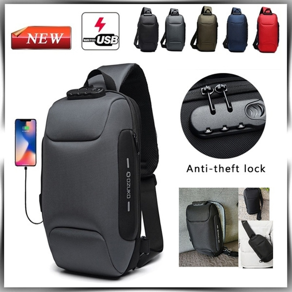 f3cb9f355a78 Multifunction Waterproof Reflective Men Chest Bags Anti Theft Password Lock  USB Charging Interface Male Shoulder Messenger Bag light