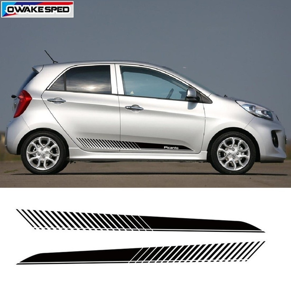 Waterproof Car Styling Side Skirt Black Stripes Vinyl Decals Decoration Stickers